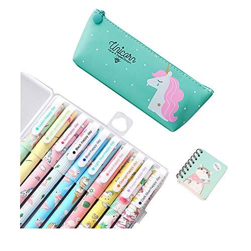Unicorno Penne,SmileStar 10pcs Unicorno Penne di Colori e 1pcs Astuccio e 1pcs Unicorno...