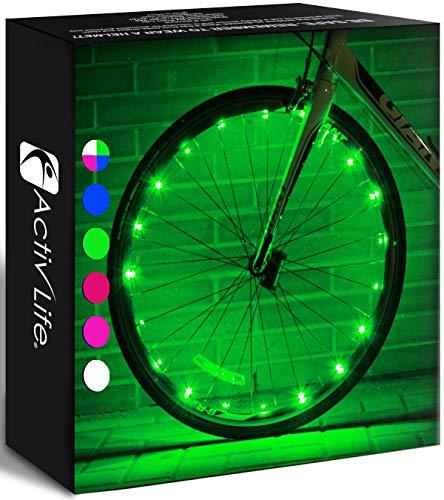 Activ Life LED Wheel Lights (1 Pneumatico, Verde) Fun Bicycle Spoke Wire & Bike Frame...
