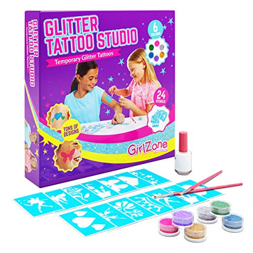 GirlZone Regalo Ragazza - Glitter Tattoo Studio, Set Tatuaggi Glitter Bambina - Set 33...