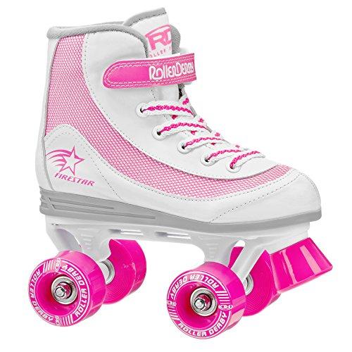 Roller Derby 1978-12 - Pattini a rotelle per ragazze Firestar, taglia 11, bianco/rosa