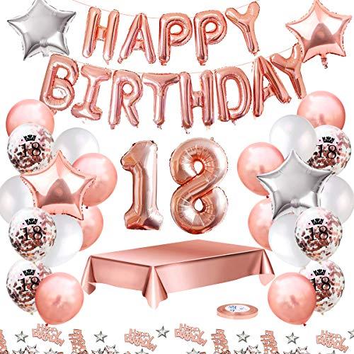 MMTX Palloncini Compleanno 18 Anni Oro Rosa Compleanno Decorazioni Per Feste Donna Addobbi...