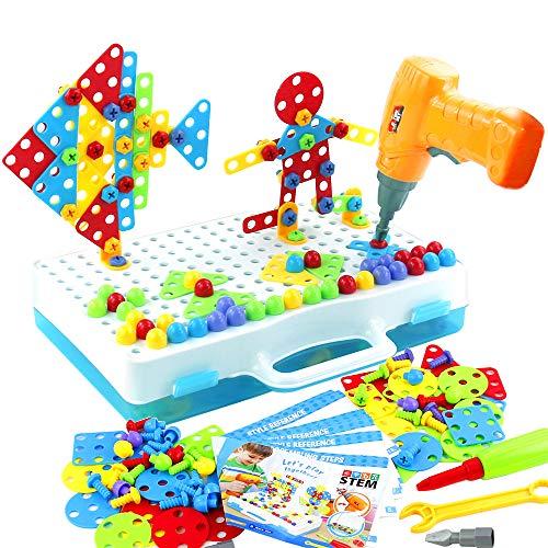 jerryvon Puzzle Bambini 3D Giochi Montessori Mosaico Giocattolo Chiodini 193 Pezzi...