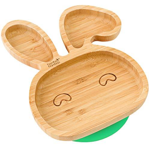 Piatto per bambini e neonati, in bambù naturale, con ventosa per tenerlo fermo, a forma...
