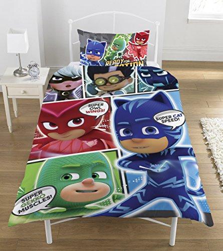 PJ Mask Set Copripiumino con Personaggi del Fumetto, in Poliestere e Cotone, Colori...