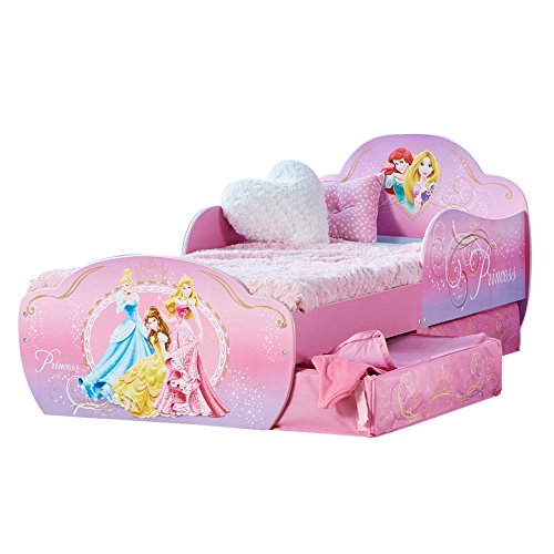 Disney Princess di HelloHome- Lettino con Contenitore Sottoletto, Per Bambini da 18 mesi a...