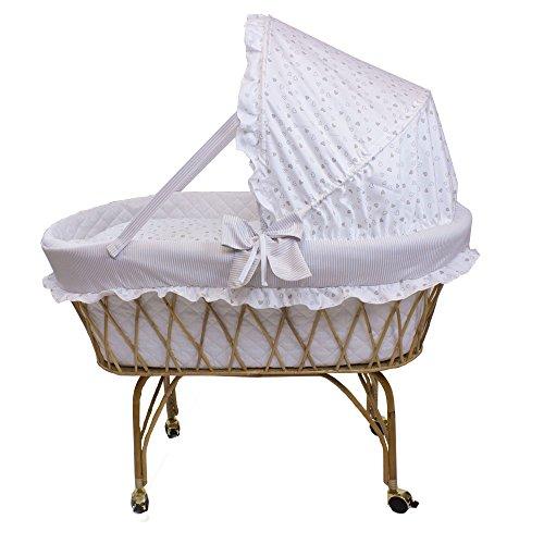 Babysanity Culla vimini per neonato 'Linea Romantica' beige con raffinati cuoricini