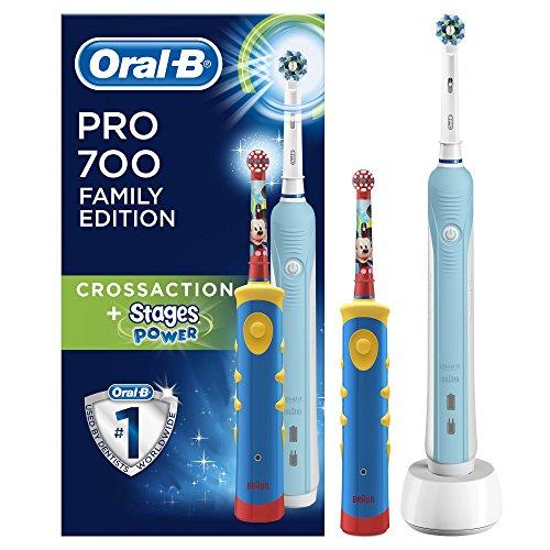 Oral-B Spazzolini Elettrici Ricaricabili PRO 700, CrossAction e Stages Power per Bambini,...