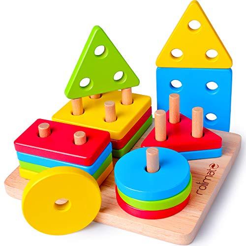rolimate Giocattolo di Legno, Montessori Giocattoli Forme Geometriche Impilatore Giochi...