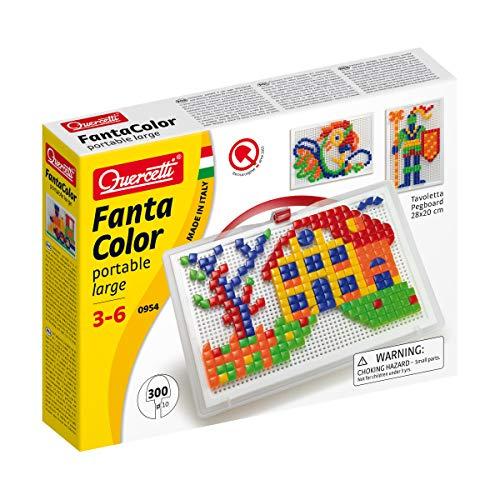 Quercetti- Fanta Color Portable Large Gioco di Composizione, Multicolore, 300 Pezzi, 0954,...