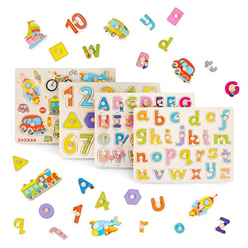 4 Pcs Puzzle in Legno Per Bebè - Puzzle Veicoli Lettere Alfabeto Abc, Numeri En Forme Per...