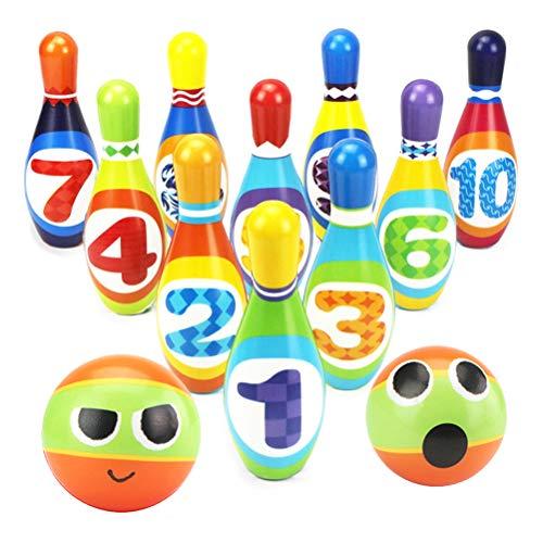 Dreamon Set da Bowling con 2 Palle e 10 Birilli Giocattoli di Sport Gioco per Bambini 2 3...