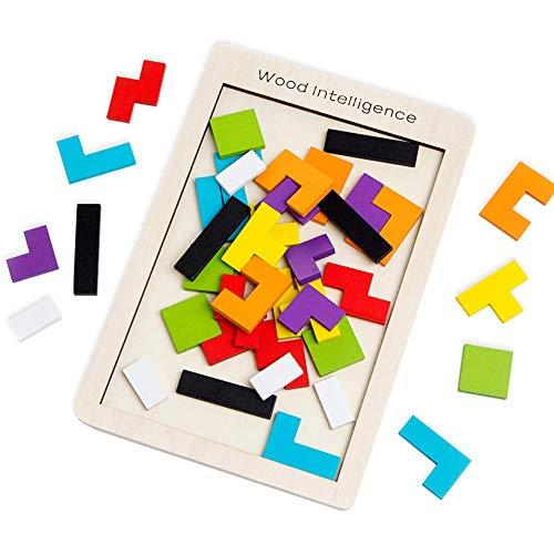 Afufu Tetris Giochi Legno Puzzle per Bambini, Giochi Montessori Legno Puzzle 40 Pz Tangram...
