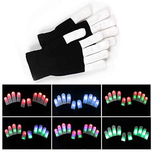 Pet Leso® Colorful and 7 Mode LED Rave Flashing Light Glow Finger Gloves for...