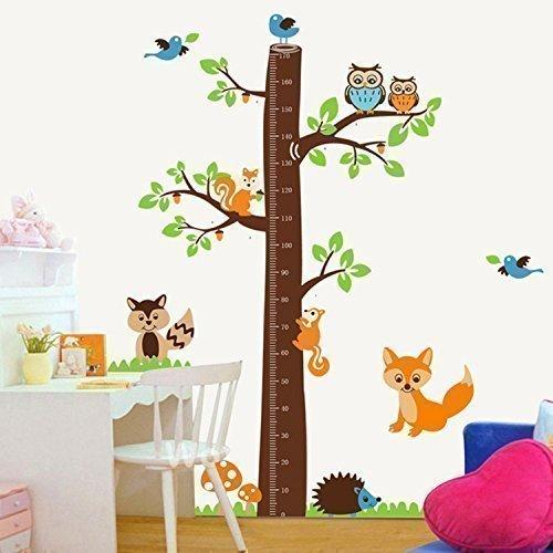 Walplus AY221 - Adesivo da parete con metro per bambini, motivo: albero con volpi,...
