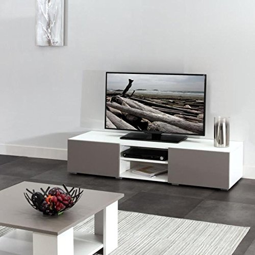 LIME Meuble TV contemporain blanc et taupe - L 140 cm