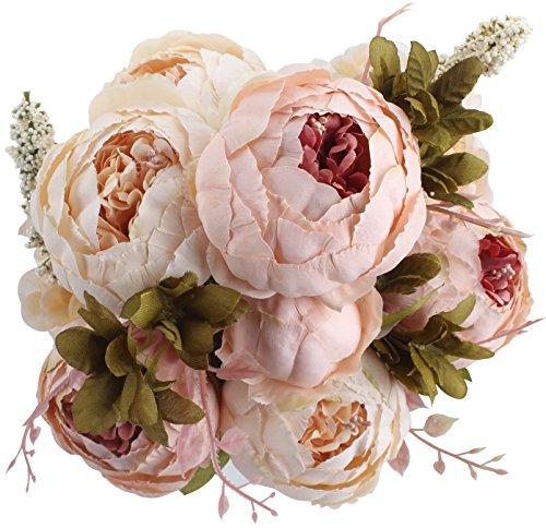 Amkun - Bouquet vintage di peonie artificiali in seta, ornamento per casa e matrimoni,...