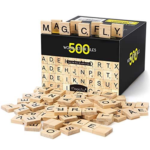 Magicfly Scarabeo Gioco da Tavolo, 500 Pezzi di Lettere Scarabeo Artigianali in Legno, A-Z...