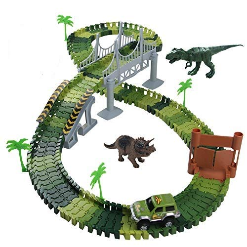 Nuheby Pista Macchinine Dinosauro Giocattolo Auto Giocattolo Pista Flessibile con Blocchi...
