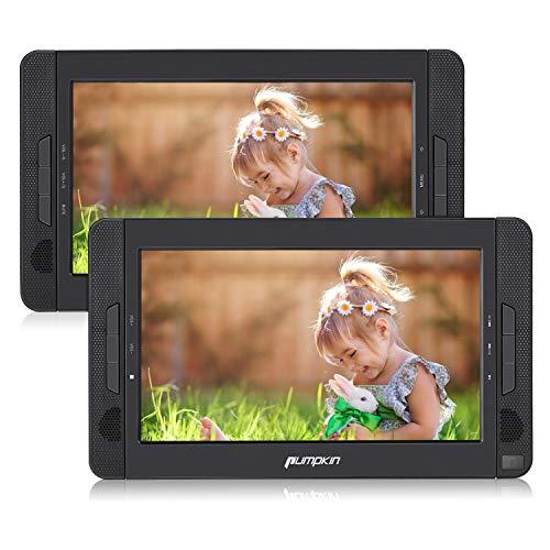 Pumpkin Lettore dvd auto portatile per bambini, uso per auto e casa, poggiatesta con...