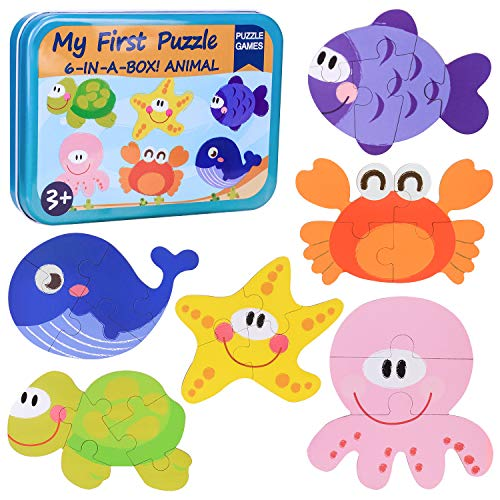 6 in 1 Puzzle Legno Bambini,Giocattoli Puzzle Animale Marini Ragazzi, Giocattolo Educativo...