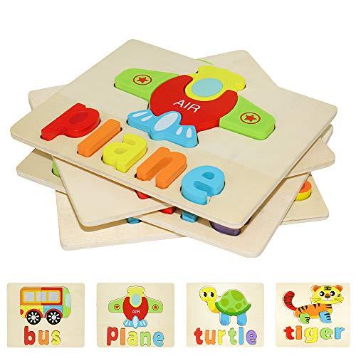 Puzzle in Legno per Bambini 3D Giocattoli Prescolare Educativo Giochi Set Blocchi...