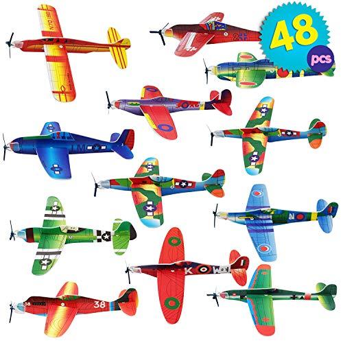 THE TWIDDLERS 48 Aerei di Carta - aeroplani Giocattolo in 12 Diversi Modelli - Alianti...