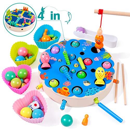rolimate Giocattolo da Pesca Giocattolo Educativo in Legno Magnete Gioco Clip Bead...