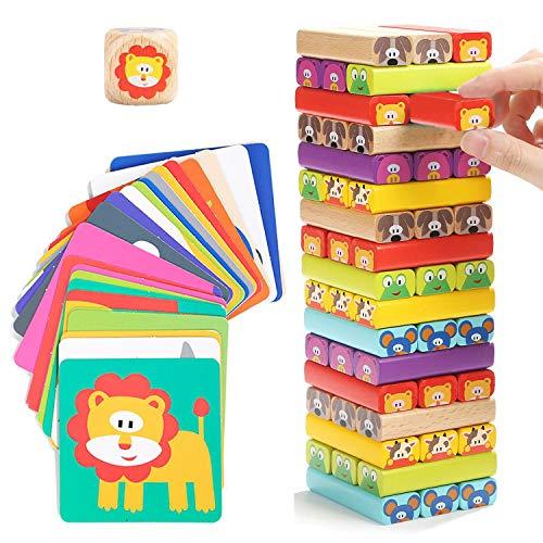 Nene Toys - Torre Magica Colorata in Legno con Animali – Gioco Educativo da Tavolo per...