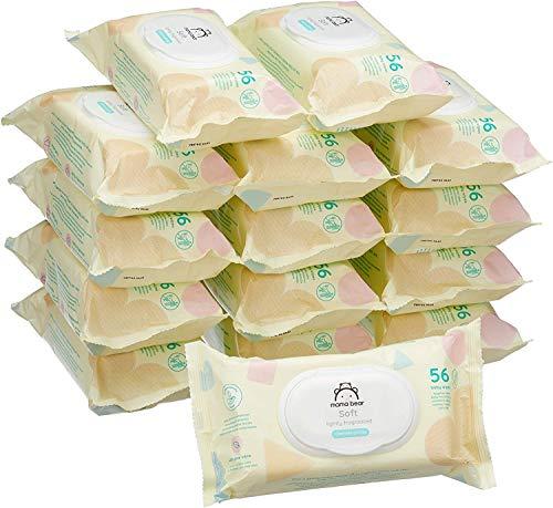 Marchio Amazon - Mama Bear Soft Salviette umidificate per bebè - 15 confezioni x 56...
