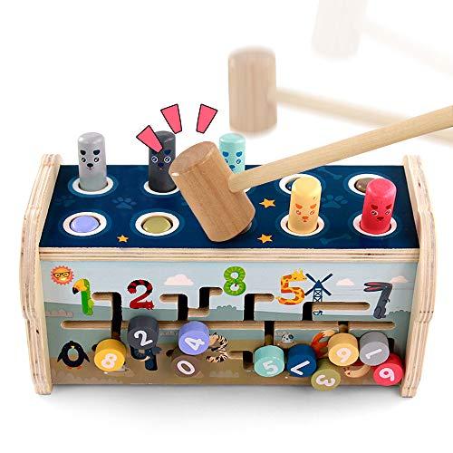 Fajiabao Giochi Montessori Banco da Martellare in Legno per Bambini con Martello...