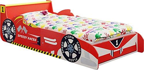 ib style- Lettino per bambino rosso'Speedy Racer Junior' - Auto da corsa - 140 x 70 cm