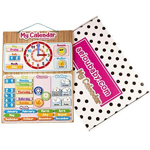 CALENDARIO OROLOGIO magnetico per bambini, Gioco educativo Data Tempo e Ora per Parete o...