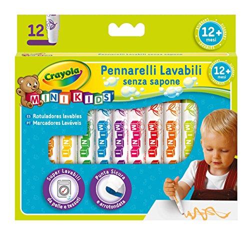 CRAYOLA- Mini Kids Pennarelli, Inchiostro Super Lavabile, Punta Arrotondata di Sicurezza,...