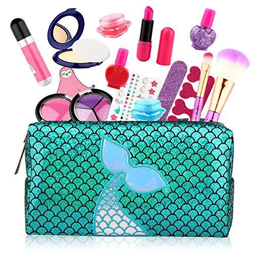 Baztoy Trucchi Bambina Set, Giochi Bambina 17 Pezzi Lavabile Makeup Kit con Trousse...