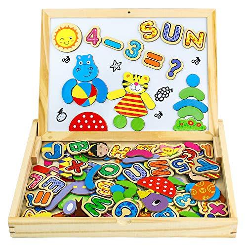 Puzzle Magnetico Legno Giocattolo di Legno Bambini con Double Face Magnetica Lavagna Legno...