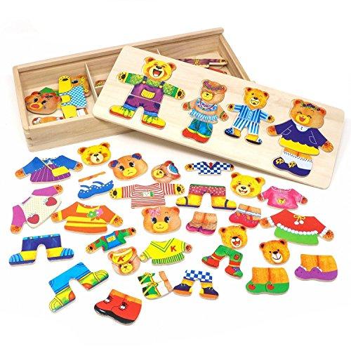 Vesti la Famiglia Orsi Puzzle Legno Bambini Educativi Giocattolo Giochi Creativi Dress up...